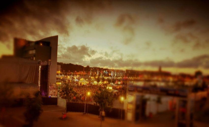 Night City Built Structure Illuminated Architecture Outdoors Sunset Sky Kieler Woche 2017 Crazy People Illusion