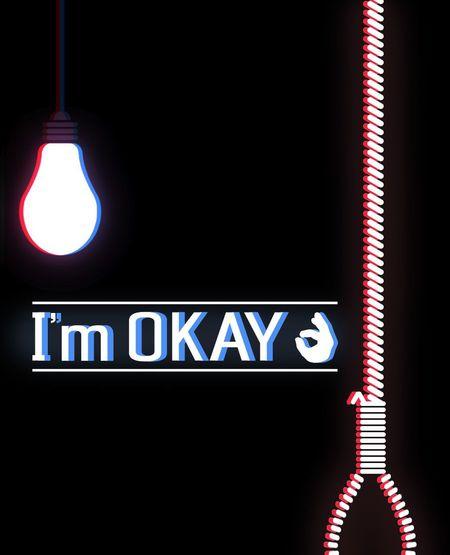 Photoshop Adobe Photoshop Okay No People Neon Death Suicide Indoors  Illuminated Black Background Close-up Day