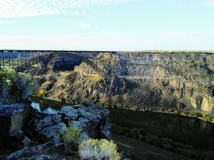 @idaho Nature Beauty In Nature Day Outdoors No People Sky Scenics Landscape Sea Water Horizon Over Water Bridge Twin Falls, Idaho
