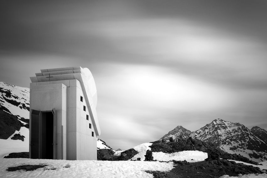 Austria Chapel Church Kapelle Lichts Light Lonely Alps Architecture Built Structure Clouds Glacier Long Exposure Mountains Nature No People Pitztal Ricoh Gr Silence Sky Snow White Landscape Black And White B/w