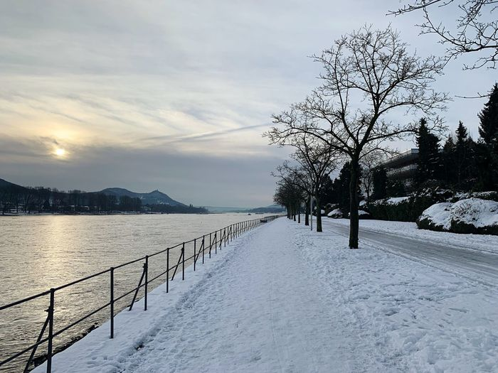 Rheinufer Rhein Bonn Germany Wintertime Sky Scenics - Nature Snow Beauty In Nature Tranquility Tranquil Scene Cold Temperature Water Nature Outdoors Snowcapped Mountain Winter Cloud - Sky Tree No People
