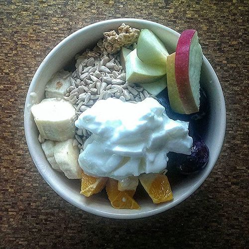 Good Morning Friends Yogis My favourite time of day After Yoga Breakfast And only the King of breakfasts will do for taste , Nutrition and lasting power Grains unproceased Fruits Nuts Seeds Yoghurt live Honey raw Now a lot of people talk a lot about not eating dairy I have to say , yes not so much hard cheese , watch those Pizzas lol But I swear by live yoghurt It's saved my guts in India on many occasions when I was ill It somehow restores my guts to balance So no one can tell me Lassi and thick bio yogurt is doing me bad
