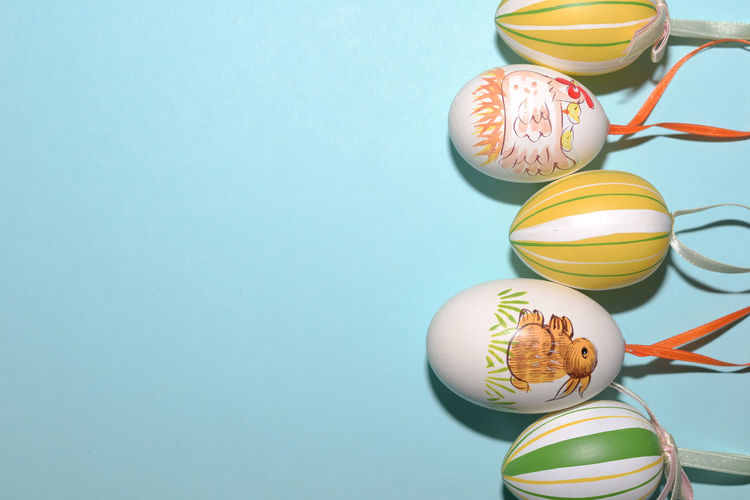 Close-up of easter eggs