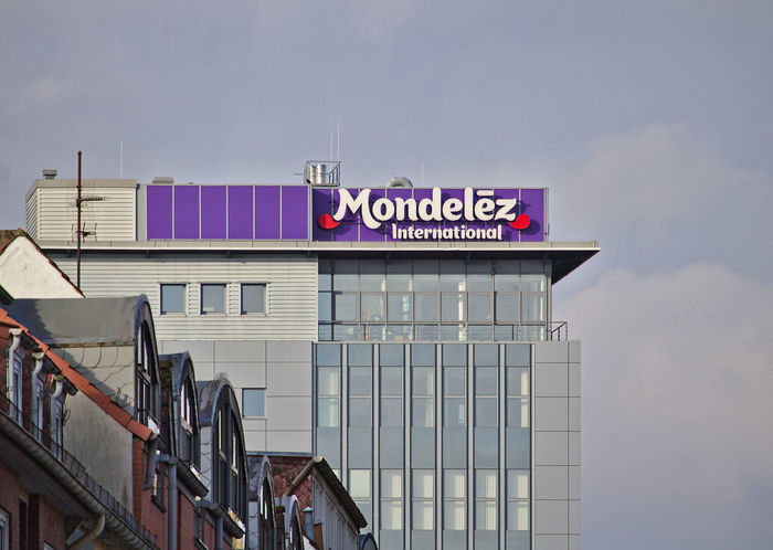 Mondelez Germany headquarters building with large company logo Beverage City Industry International Architecture Building Exterior Built Structure Business Finance And Industry Confectionary Corporate Business Corporation Day Douwe Egberts Food Headquarters Kraft Foods Log Mondelez No People Outdoors Sky Text
