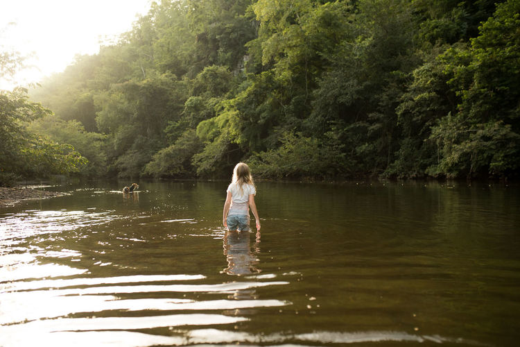 A girl and a dog cool off in a river in Belize. Beauty In Nature Casual Clothing Day Dog Forest Full Length Girl Hairstyle Lake Leisure Activity Lifestyles Nature One Person Outdoors Plant Real People Rear View River Tree Water Waterfront Women