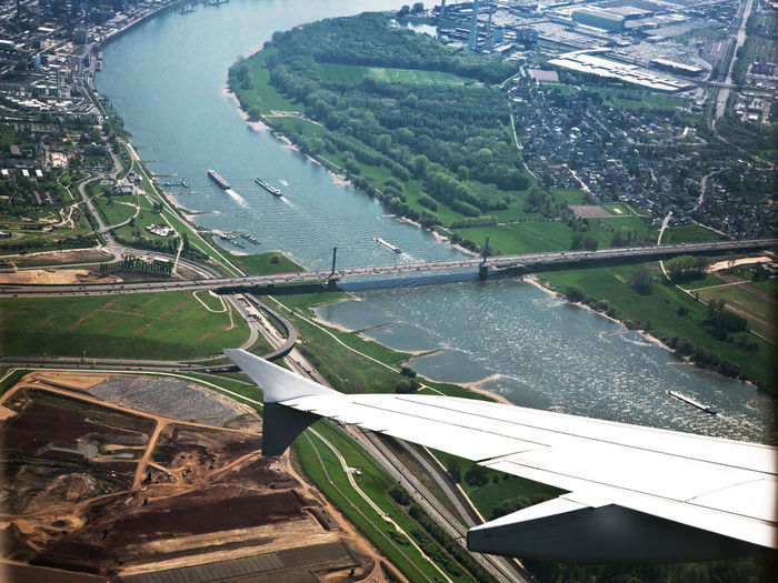 Leverkusener Brücke, Dauerbaustelle aus der Luft Water Transportation High Angle View Nature Architecture Day No People Built Structure River Beauty In Nature Mode Of Transportation Scenics - Nature Aerial View Landscape Bridge Environment Outdoors Land Bridge - Man Made Structure Leverkusener Brücke Airplane Wing Rhine Damaged Germany Cologne , Köln,