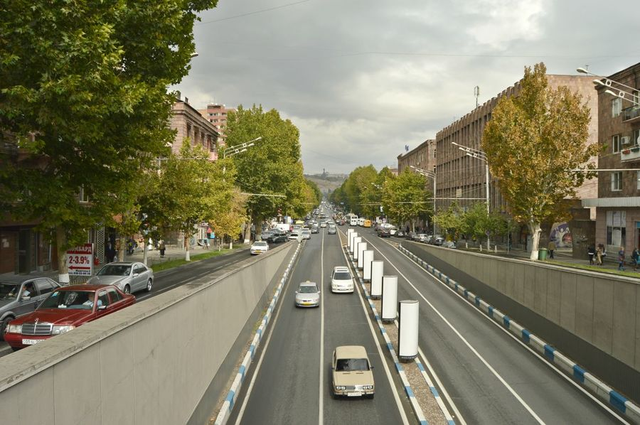 Traffic ~ Architecture Armenia Car City Downtown Prospect Road Sky Transportation Yerevan