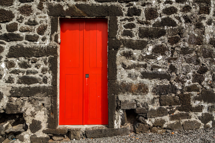 Azores Pico Island Traditional House Architecture Basaltic Rock Brick Building Building Exterior Built Structure Closed Day Door Entrance House No People Outdoors Protection Red Safety Security Stone Wall Wall Wall - Building Feature Window