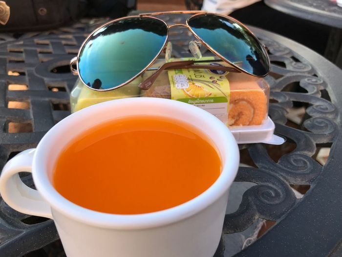 Cool💋 Food And Drink Cup Refreshment Drink Mug Table Still Life Close-up Tea Cup Food Indoors  High Angle View Hot Drink Glasses Sunglasses Tea - Hot Drink No People Freshness Tea Kitchen Utensil