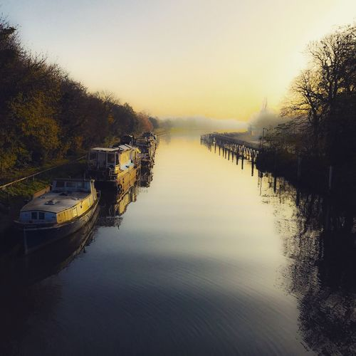 Early morning bike ride Hazy Morning Dawn Of A New Day Sunrise River Thames Water Sky Tree Nautical Vessel Nature Plant Tranquility Beauty In Nature Reflection Tranquil Scene Idyllic Waterfront Moored Outdoors Scenics - Nature