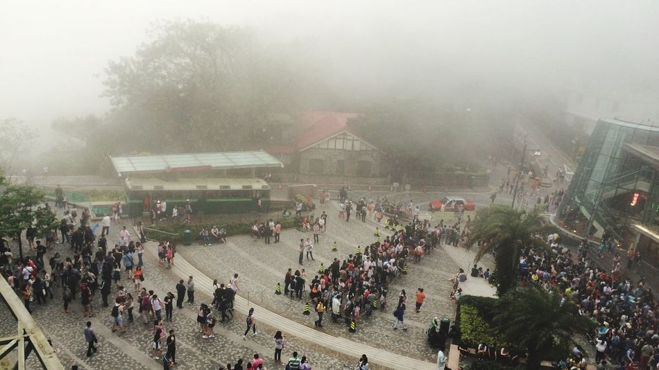 Up In The Clouds Group Of People Peak Cloudd Clouds Tourist Attraction  The Peak HongKong Croud