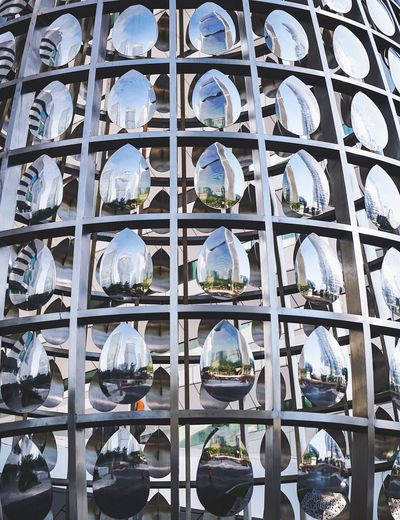 Beautifully Organized Still Life Feature Sculpture Modern Steel Reflection Mirrored Architecture Iconic Sunny Guangzhou China Framing Metal Structure Image Mirrored
