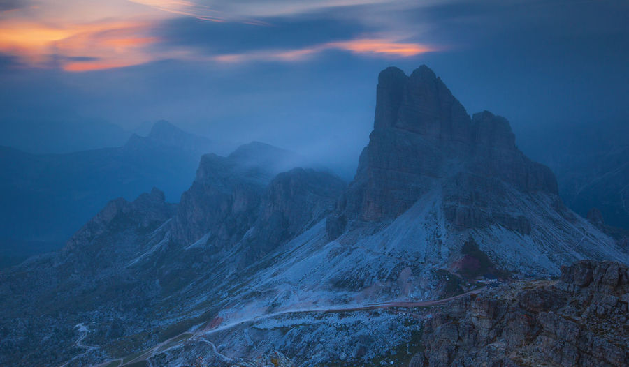 Incredible landscapes from Dolomite Mountains, Italy. Atmosphere Beautiful Dolomites Nature Rocky Alps Blue Clouds Dolomiti Europe Fog Foggy Italy Landscape Mountain Mountain Range Outdoors Peak Photography Red Light Rock - Object Sunrise Sunset Travel Destinations