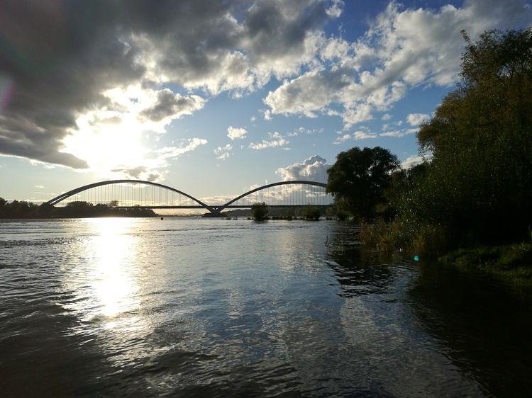 Toruń City Torun, Poland Bridge Water Reflections Cloud - Sky Outdoors City