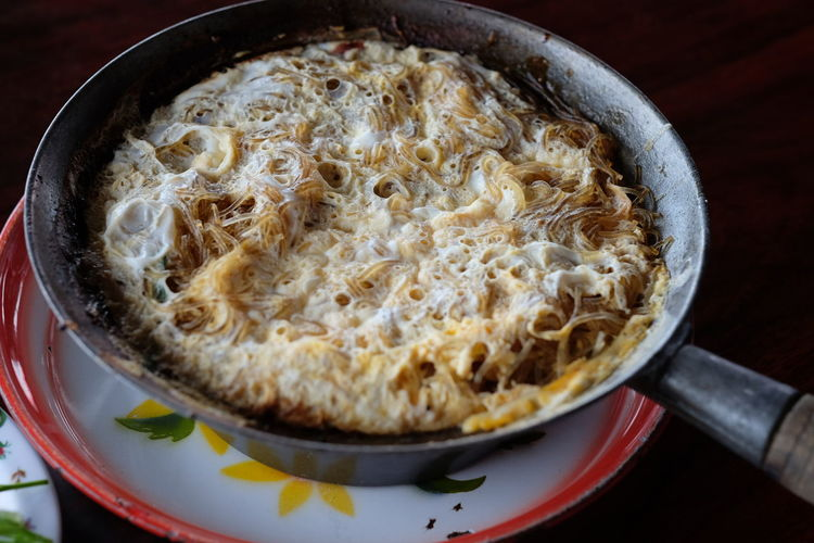 High angle view of casserole in container