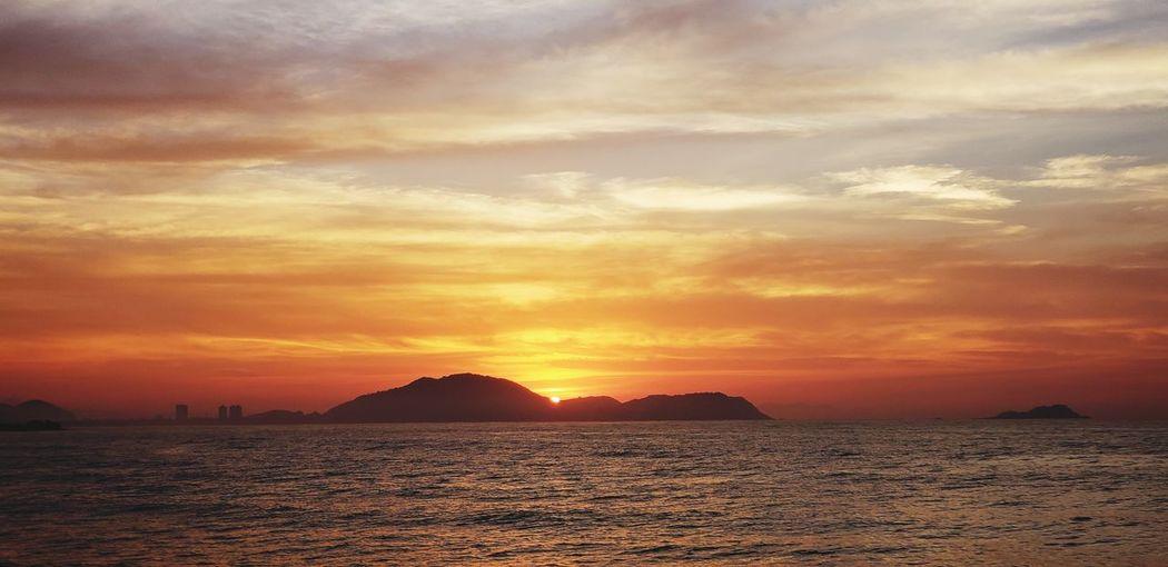 Water Sea Sunset Beach Sand Mountain Sunlight Sun Summer Horizon