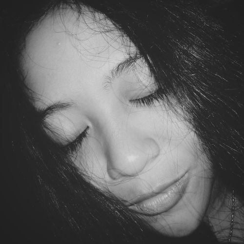 Eyes Closed  Real People One Person Human Face Beautiful Woman Only Women Young Women One Woman Only Human Lips Night Photography Nightshot Monochrome Photography Monochrome_life Nature Bwoftheday Girls