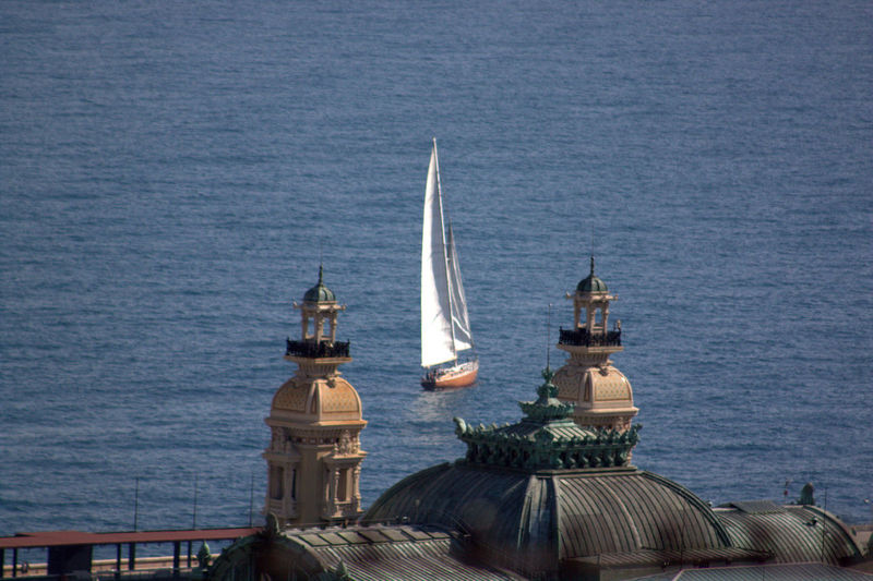 Sailboat In Sea Viewed From Building