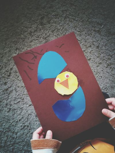 Easter Ready Child Holding A Card Easter Cards Egg Easter Chicks Chick Child Art