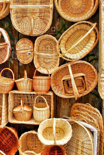 Directly Above Shot Of Wicker Baskets For Sale At Market