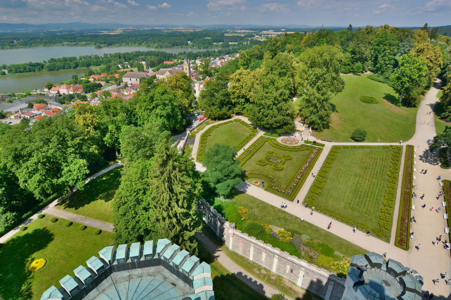 View from Hluboka castle Aerial Architecture Castle Czech Czech Republic Europe Field Garden Green Green Color Hluboká Nad Vltavou Hluboká Nad Vltavou • Zámek Landscape Nature Outdoors Panorama Roof Scenics Summer Tourism Travel View