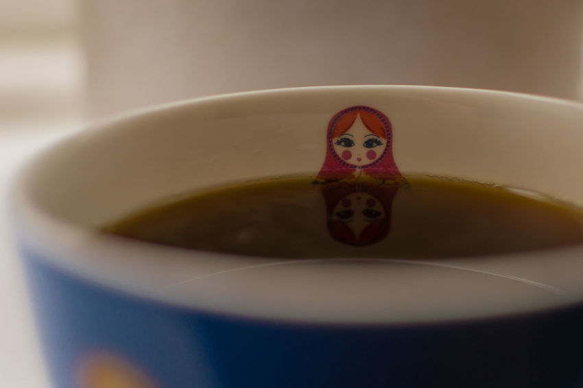 Beverage Black Coffee Close-up Coffee Creative Directly Above Drink Face Freshness Indoors  Indulgence Lady Mug Overhead View Reflection Refreshment Relaxation Russian Doll Still Life Tiny Bubbles Variation