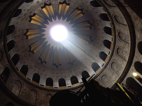 Urban 4 Filter Church Holy Sepulchre Christian Quarter Jerusalem Oldcity Jesus Christ Light And Shadow Looking At The Ceiling