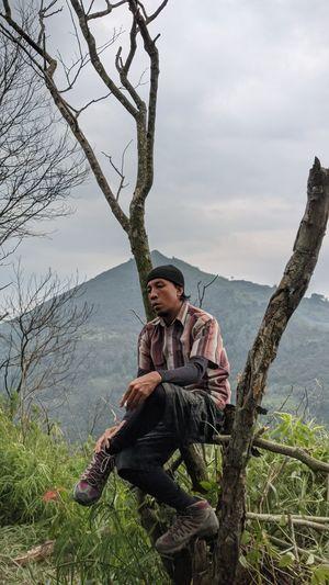 Man sitting on tree against sky