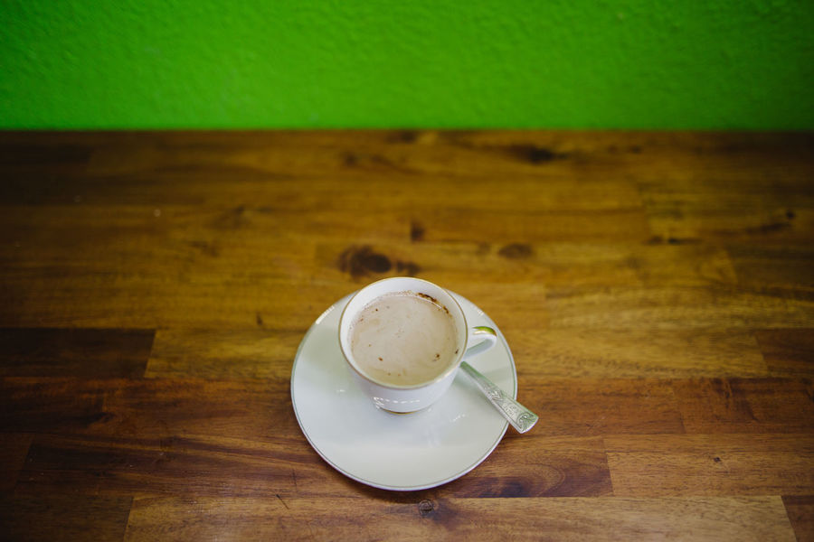 Coffee Time Green Wall Spoon Coffee - Drink Coffee Cup Drink Food And Drink High Angle View Table White White Cup Wood - Material