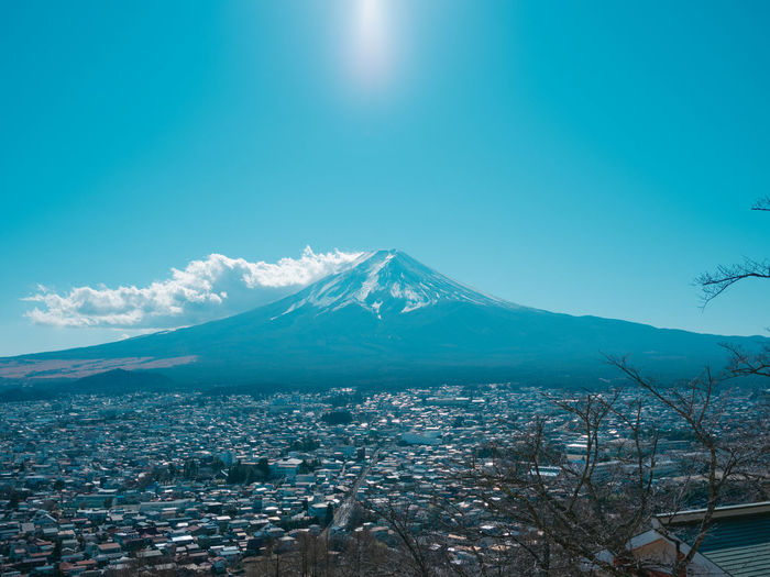 Sky Mountain Snow Beauty In Nature Winter Scenics - Nature Building Exterior Snowcapped Mountain Cold Temperature Architecture Nature No People Volcano City Built Structure Environment Tranquility Mountain Peak Blue Outdoors Cityscape
