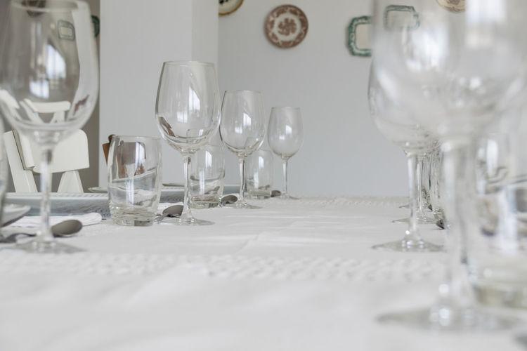 Glasses on table in restaurant