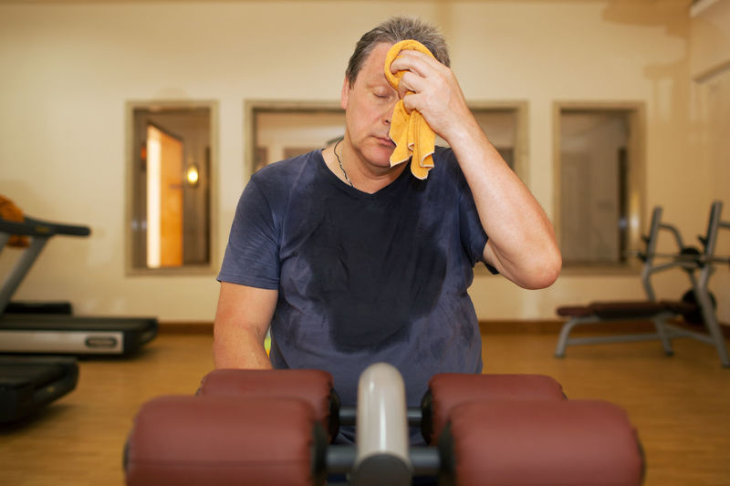 Active Break Caucasian Exhausted Exhaustion Fitness Gym Horizontal Man Physical Sport Sportive Sweat Tired Train Wipe Workout