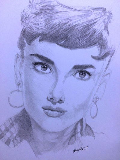Drawing ArtWork Hello World Art, Drawing, Creativity MyDrawing オードリーヘップバーン オードリー Audrey Hepburn