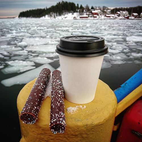 Car Ferry Close-up Coffee Coffee Time Coffeeporn Day Focus On Foreground Icy Water Indulgence Krokofant No People Outdoors Still Life Temptation