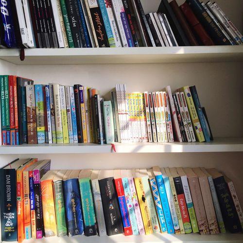 Full frame of books on shelf