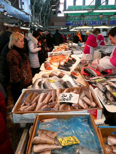 Latvia Latvia Riga Cityscapes Riga Panorama Rigaplaces Tirgus Centraltirgus Fish Market Fish Stall Fish Stand Shopping For Fish Local Catch