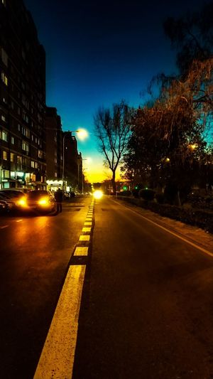 Illuminated road by buildings in city at night