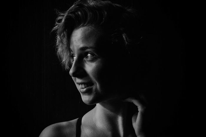 Black Background Blackandwhite Girl Headshot Light And Shadow Portrait Short Hair Woman Young Adult