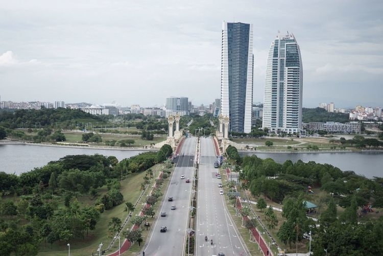 Malaysia Putrajaya Architecture Transportation Streetphotography Photography View City Tree Road Car Water City Life Sky Tall - High Modern Outdoors High Angle View Landscape Cloudscape Blue