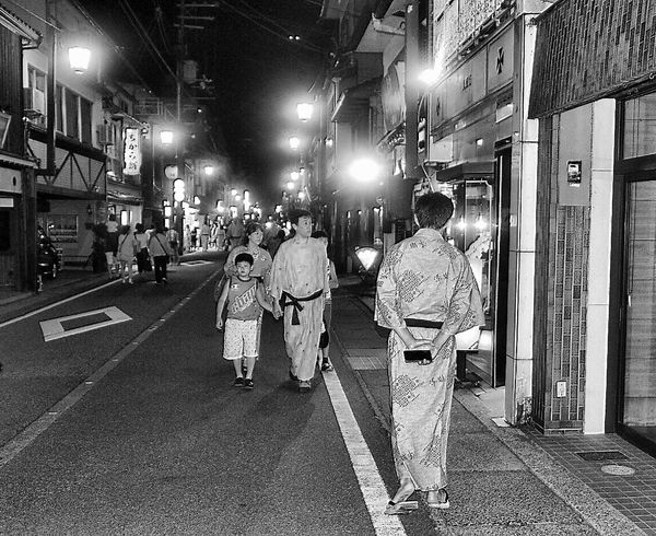 Night Full Length Illuminated Real People Blackandwhite Japan Kinosaki