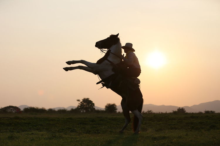 Side view of mature man horseback riding against sky during sunset