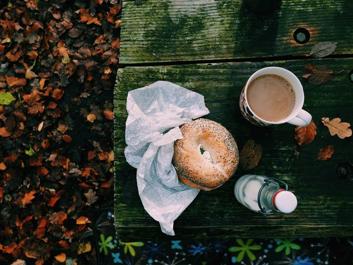 Food And Drink Food Leaf Freshness Autumn Directly Above Drink No People Sweet Food Healthy Eating Close-up Day Outdoors Ready-to-eat Nature Bagels Bagel Bread Coffee Time Coffee Break Coffee Cup Coffee Table Coffee - Drink Top Perspective