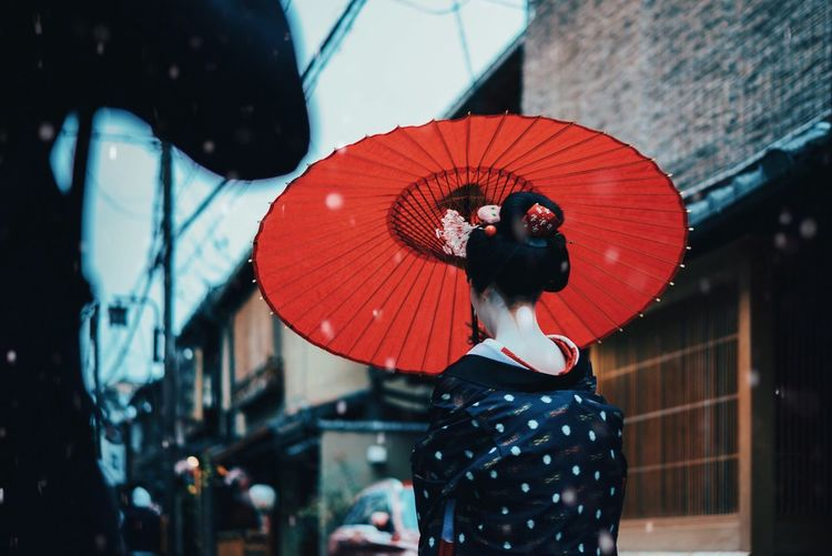 Rear view of woman with red lanterns hanging against sky