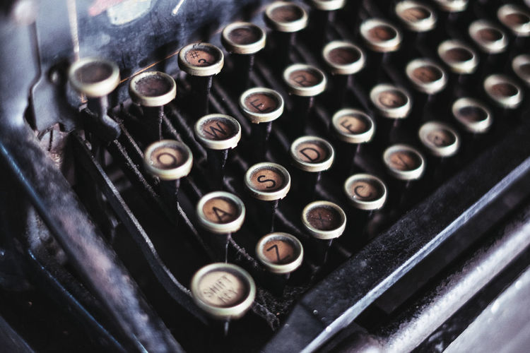 typewriter Composition Copy Space Editing Editor Objects Writing Alphabet Antique Backgrounds Close-up Creative Full Frame History Letter Literature Machinery Obsolete Old Publishing Retro Styled Selective Focus Still Life Technology Text Typewriter Humanity Meets Technology Analogue Sound