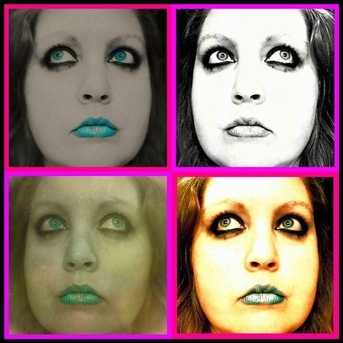 Warhol Wannabe Collage 4way Big Lips Big Lips, Big Eyes Big Eyes Neon Black And White Vintage Make Up ART