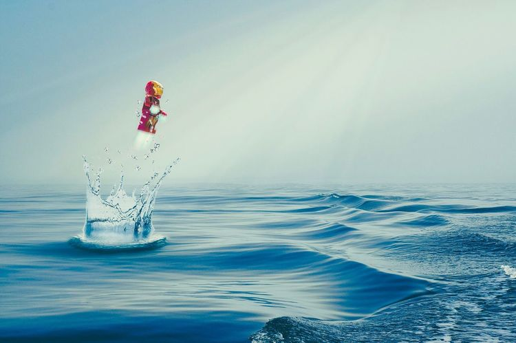LEGO Lego Minifigures Ironman Superhero Sea Water Horizon Over Water Outdoors Wave Day Sky Scenics Flying Legophotography