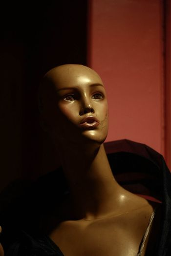 Close-up of mannequin at retail store
