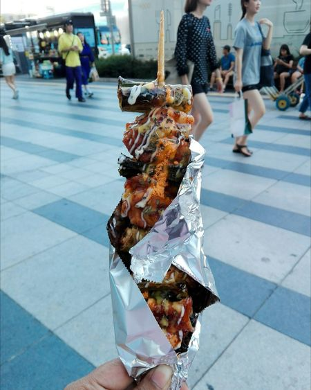City Fast Food Women Eating Human Hand Low Section Meat Incidental People Pedestrian Barbecue Grill Grilled Chicken