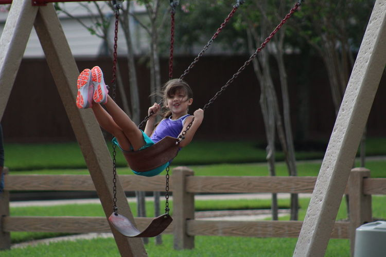 Happy girl on a swing Swingset Casual Clothing Childhood Day Elementary Age Full Length Girls Grass Happiness Holding Leisure Activity Lifestyles One Person Outdoors Park - Man Made Space People Playground Playing Real People Sitting Smiling Swing Tree