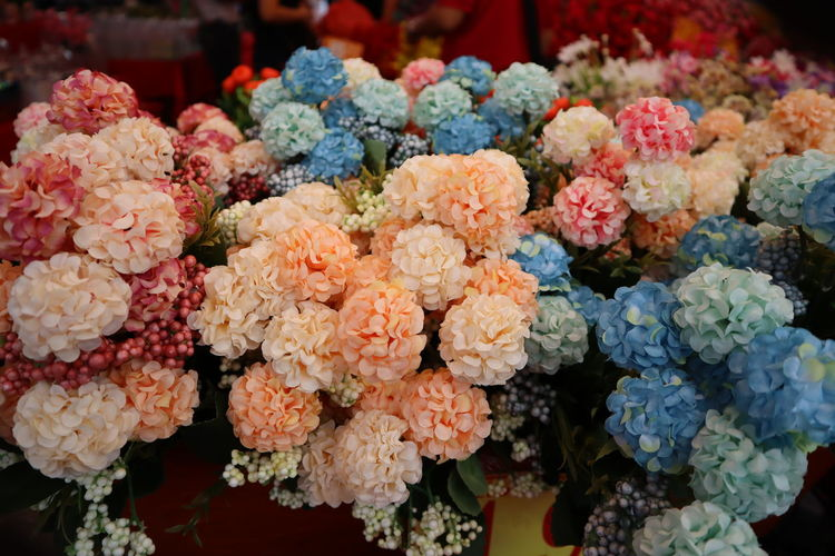 Multi Colored Store Market Business Finance And Industry Business Retail  Supermarket Close-up Flower Market Blooming Marigold Flower Shop Florist Bunch Of Flowers Flower Arrangement Dahlia Fragility For Sale